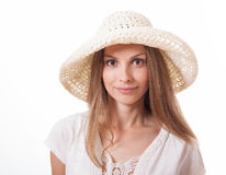 Woman in a wide brimmed hat Stock Photos