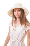 Woman in a wide brimmed hat Royalty Free Stock Photos