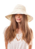 Woman in a wide brimmed hat Royalty Free Stock Photography