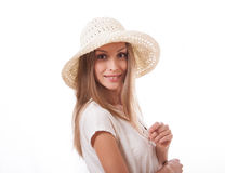 Woman in a wide brimmed hat Stock Photo