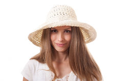 Woman in a wide brimmed hat Stock Image