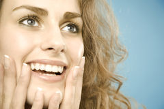 Woman with wide eyebrows Stock Images