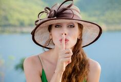 Free Woman Wide Eyed Asking For Silence Or Secrecy With Finger On Lips Hush Hand Gesture. Pretty Girl Placing Fingers On Lips, Shhh Royalty Free Stock Images - 178504199