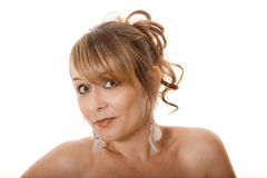 Woman with wide eyes Royalty Free Stock Image