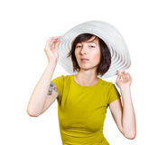 Woman in wide hat Royalty Free Stock Photos