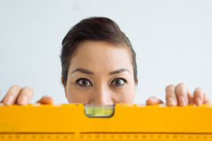 Woman with wide open eyes Royalty Free Stock Images
