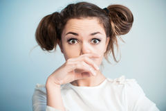 The woman with widely open eyes Stock Images