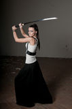 Woman Wielding katana Stock Photography