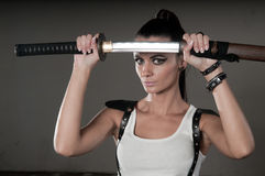 Woman Wielding Sword Royalty Free Stock Images