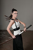 Woman Wielding Sword stock photography