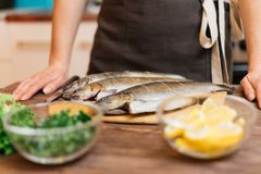 Woman will cook fish dish in kitchen. royalty free stock photography