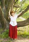Woman and willow tree Royalty Free Stock Photos