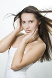 Woman with wind in her hair Royalty Free Stock Photo