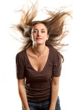 Woman With Wind in her Hair Royalty Free Stock Photos