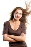 Woman With Wind in her Hair Royalty Free Stock Image