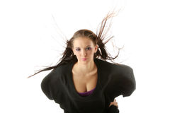 Woman with wind in her hairs Stock Photo