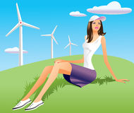 Woman and wind turbine in background. Illustration Royalty Free Stock Photos