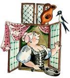 Woman at window. Holland woman at window looking at swallow Stock Photos