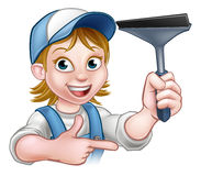 Woman Window Cleaner Cartoon Character Royalty Free Stock Image