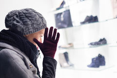 Woman window shopping. Royalty Free Stock Images