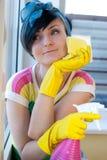 Woman Window Wash Stock Photo