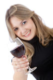 Woman with a wine Stock Images