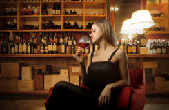 Woman and wine Royalty Free Stock Photography