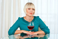 Woman with wine Royalty Free Stock Photos
