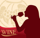 Woman with wine glass royalty free illustration