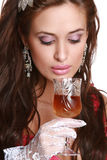 Woman with wine glass in hand Royalty Free Stock Photos