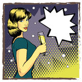 Woman with wine glass in pop art retro style. Comic vector illustration. Beautiful girl drinking champagne Royalty Free Stock Photo