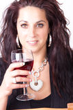 Woman and wine Stock Photography