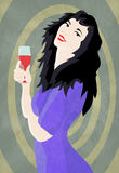 Woman and wine Royalty Free Stock Image