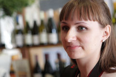 Woman in wine shop Royalty Free Stock Photo