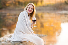 Woman wine sunset Royalty Free Stock Photography