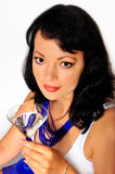 Woman and wineglass Royalty Free Stock Photo