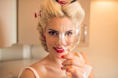 Woman with wineglass Royalty Free Stock Images