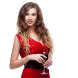 Woman with wineglass Stock Photo