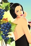 Woman in Winery. Between the Grapes. Woman with Wine in Glass Tasting Wine. Vineyard Raster Illustration Royalty Free Stock Photos