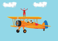 Woman Wing Walking royalty free illustration