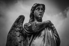 Woman With Wings Statue Grayscale Photo Stock Photo