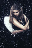 Woman with wings. Woman with white wings under snow in dark, toned image Stock Photography