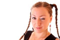 Woman winking Royalty Free Stock Photos