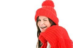 Woman winking Stock Photography