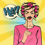 Woman Winks. Attractive Girl with Curlers and Photo Booth Mustache Stock Photography