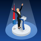 The woman is the winner in the elections. Presidential Elections in France 2017.  vector illustration