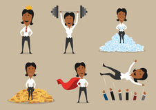 Woman winner and vector victory achievements. Success and victory achievements vector concept. Super mighty leader woman or winner business character in golden Stock Photography
