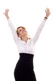 Woman winning. Young business woman winning isolated on white background Royalty Free Stock Photo