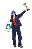 Woman winning award for recycling Stock Photography