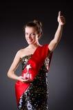 Woman winning  beauty contest Stock Photo